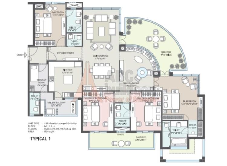 Indiabulls Enigma Floor Plan 4 BHK + S.R + F.L + Utility– 3450 Sq. Ft.