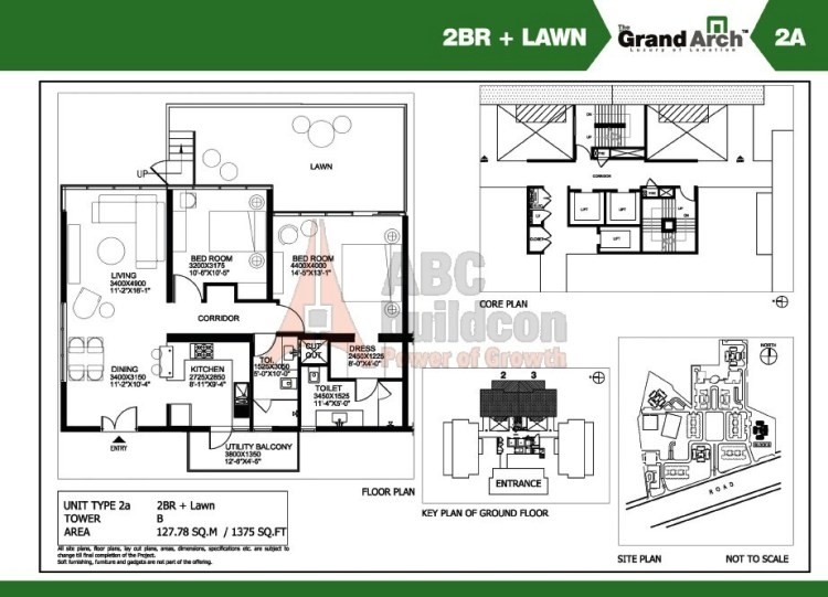 Ireo Grand Arch Floor Plan 2 BHK + Lawn – 1375 Sq. Ft.