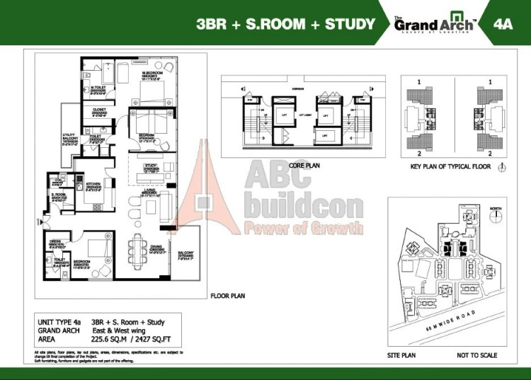 Ireo Grand Arch Floor Plan 3 BHK + S.R + Study – 2427 Sq. Ft.
