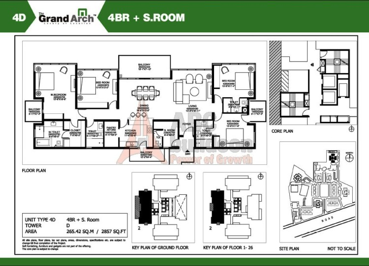 Ireo Grand Arch Floor Plan 4 BHK + S.R + Study – 2857 Sq. Ft.