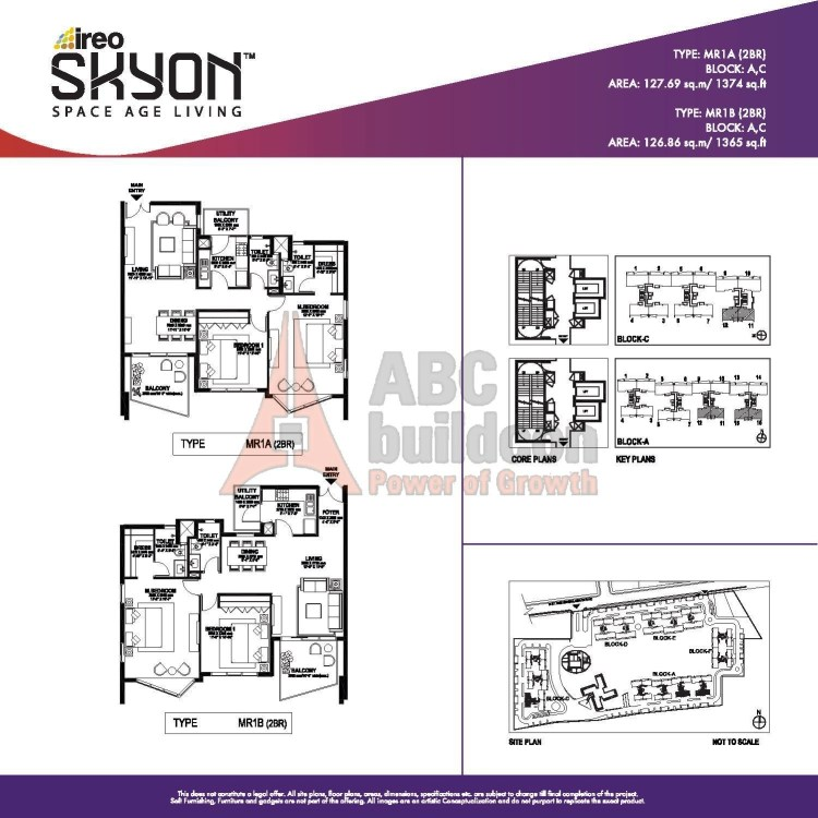 Ireo Skyon Floor Plan 2 BHK – 1374 Sq. Ft.