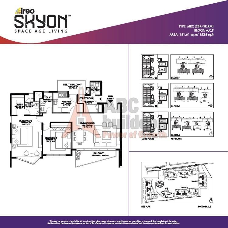 Ireo Skyon Floor Plan 2 BHK + S.R – 1524 Sq. Ft.