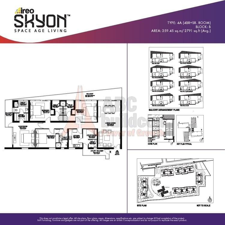 Ireo Skyon Floor Plan 4 BHK + S.R – 2791 Sq. Ft.
