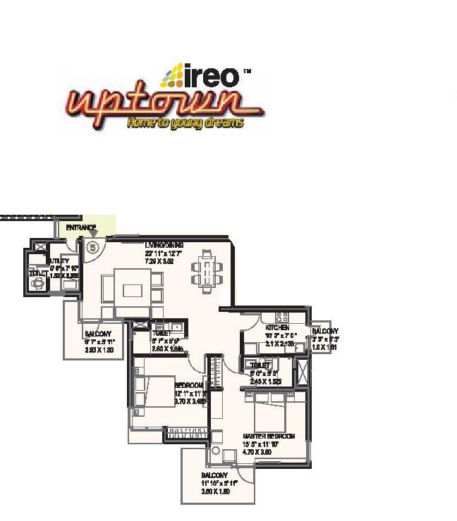 Ireo Uptown Floor Plan 2 BHK + Utility – 1430 Sq. Ft.