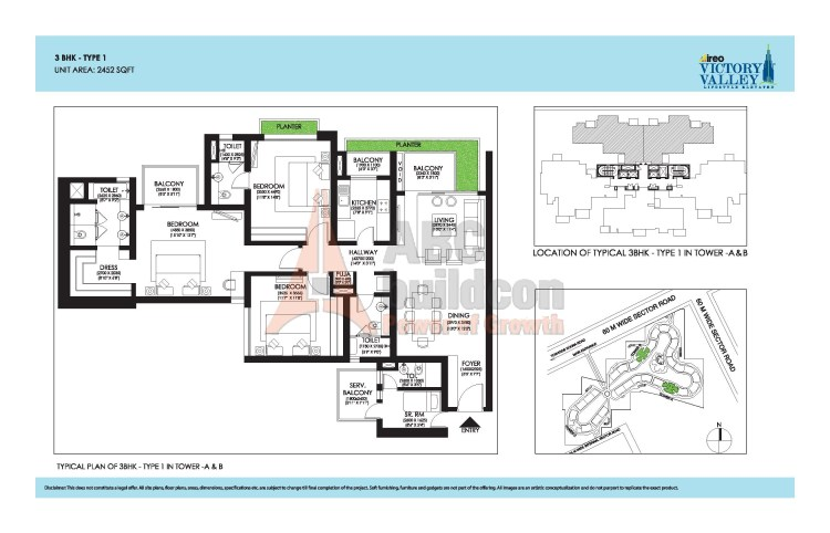 Ireo Victory Valley Floor Plan 3 BHK + S.R + Pooja Room – 2452 Sq. Ft.