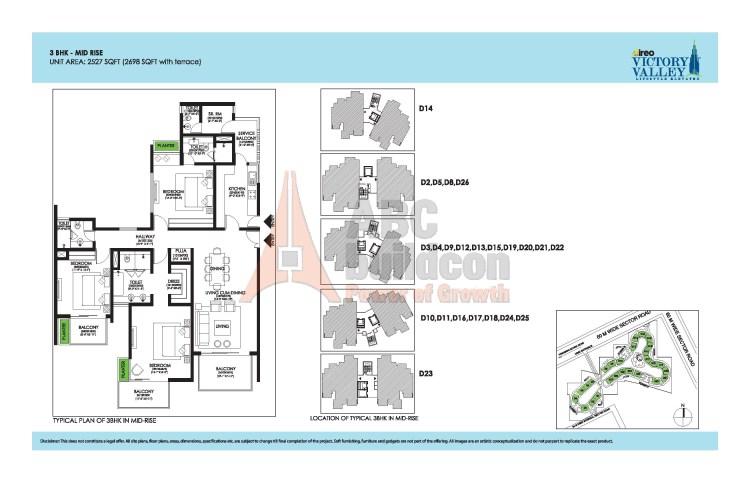 Ireo Victory Valley Floor Plan 3 BHK + S.R + Pooja Room – 2698 Sq. Ft.