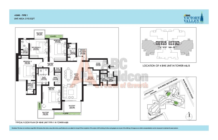 Ireo Victory Valley Floor Plan 4 BHK + S.R + Pooja Room – 3192 Sq. Ft.