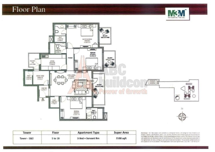 M3M Escala Floor Plan 3 BHK + S.R +Store – 2100 Sq. Ft.
