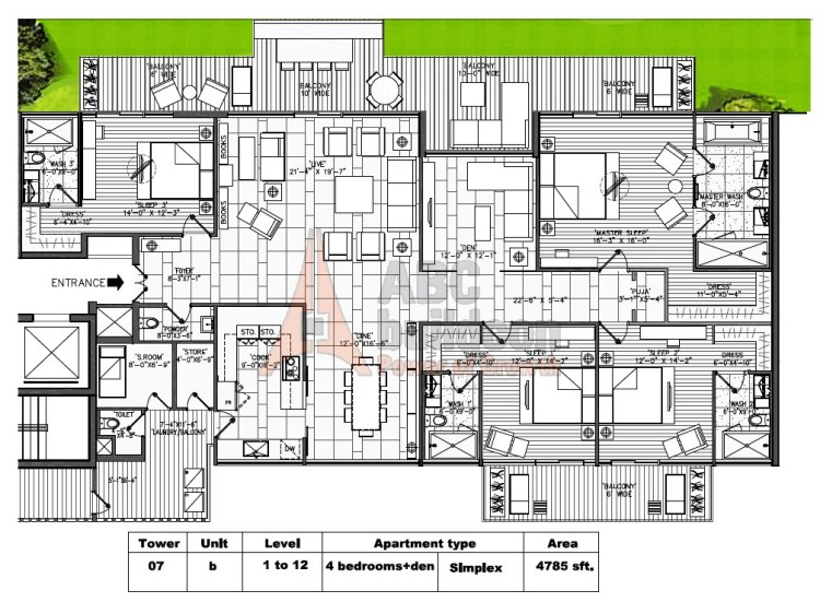 M3M Golf Estate Floor Plan 4 BHK + S.R + F.L + Store + Pooja Room – 4785 Sq. Ft.