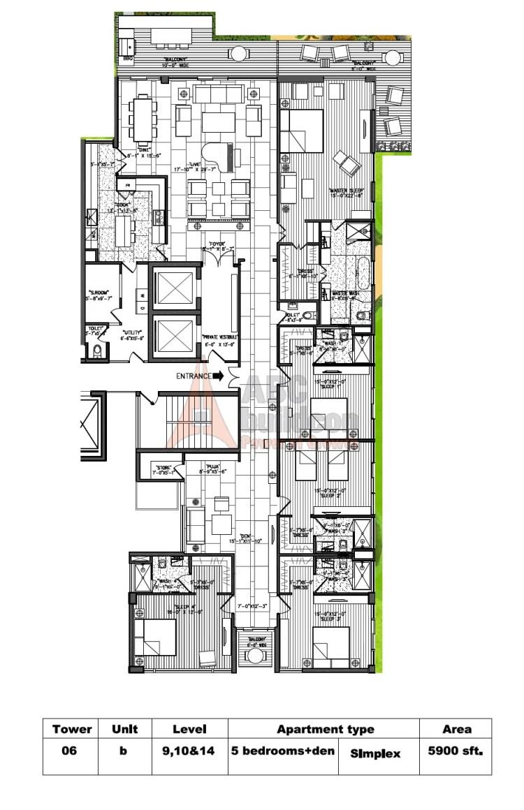 M3M Golf Estate Floor Plan 5 BHK + S.R + F.L + Store + Pooja Room – 5900 Sq. Ft.