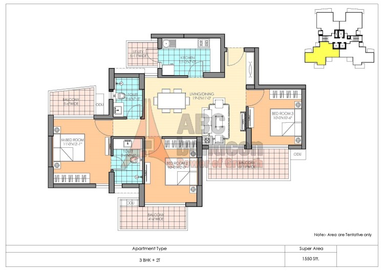 M3M Marina Floor Plan 3 BHK – 1550 Sq. Ft.