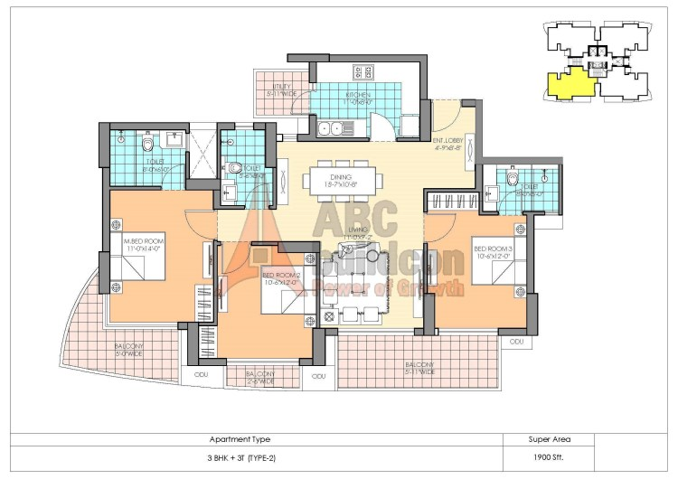 M3M Marina Floor Plan 3 BHK – 1900 Sq. Ft.
