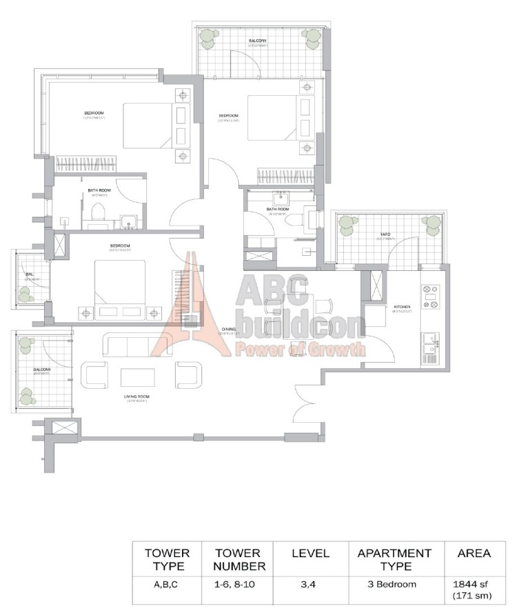 M3M Merlin Floor Plan 3 BHK – 1844 Sq. Ft.