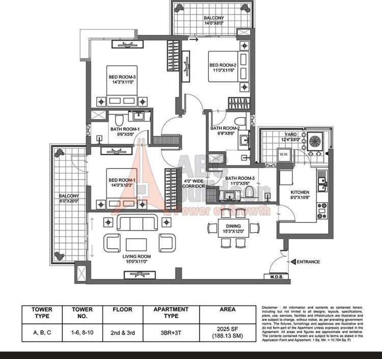 M3M Merlin Floor Plan 3 BHK – 2025 Sq. Ft.