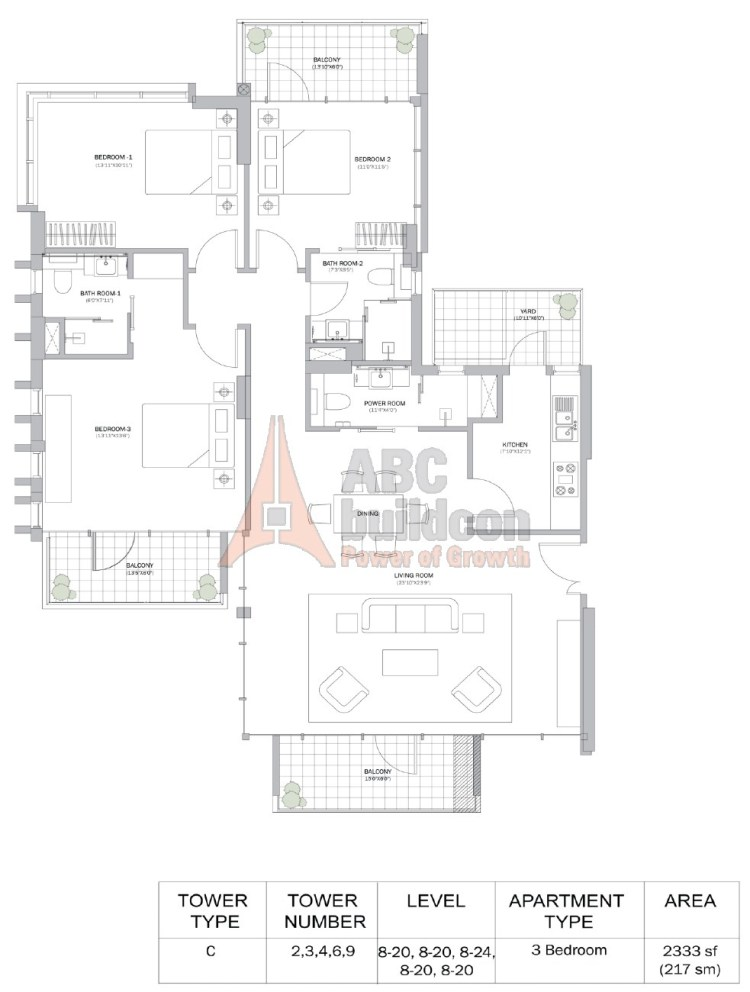 M3M Merlin Floor Plan 3 BHK – 2333 Sq. Ft.
