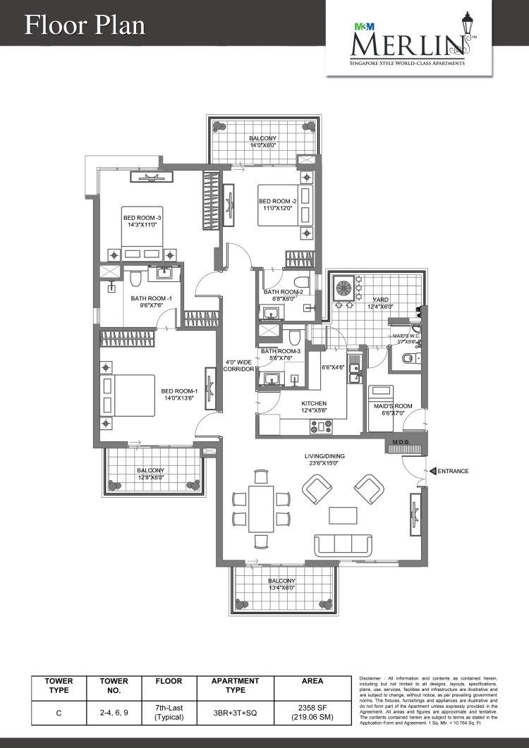 M3M Merlin Floor Plan 3 BHK – 2358 Sq. Ft.
