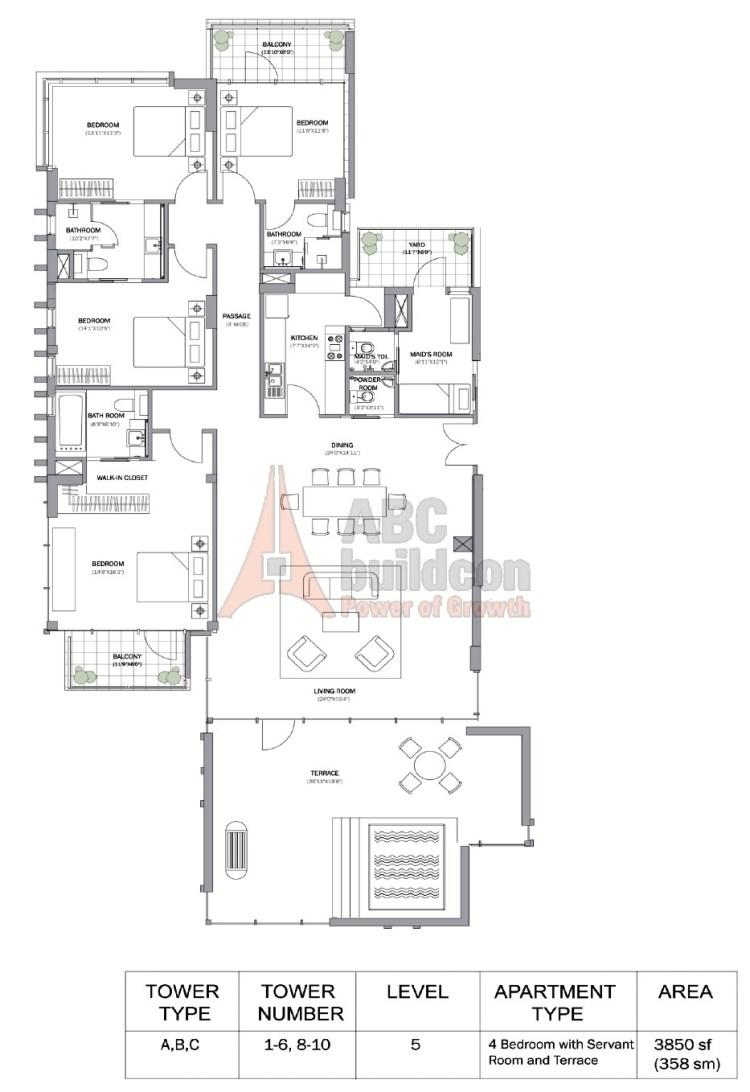 M3M Merlin Floor Plan 4 BHK + S.R + Terrace – 3850 Sq. Ft.