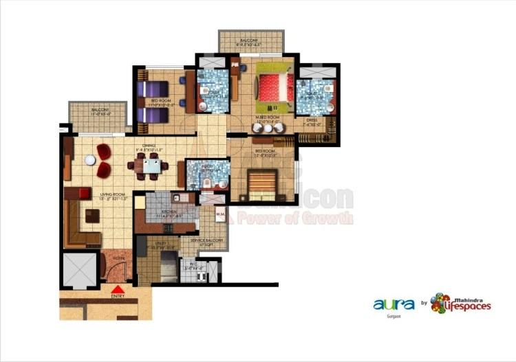 Mahindra Aura Floor Plan 3 BHK + S.R – 1985 Sq. Ft.