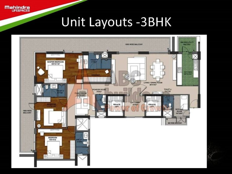 Mahindra Luminare Floor Plan 3 BHK + S.R – 2985 Sq. Ft.