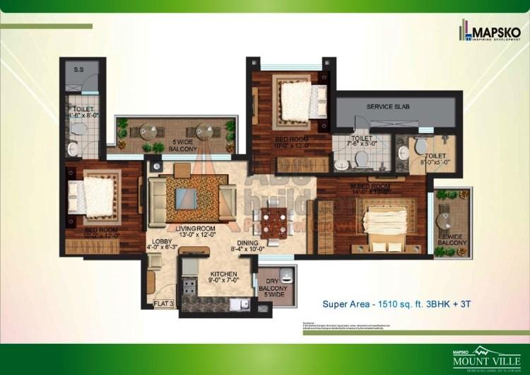 Mapsko Mount Ville Floor Plan 3 BHK – 1510 Sq. Ft.