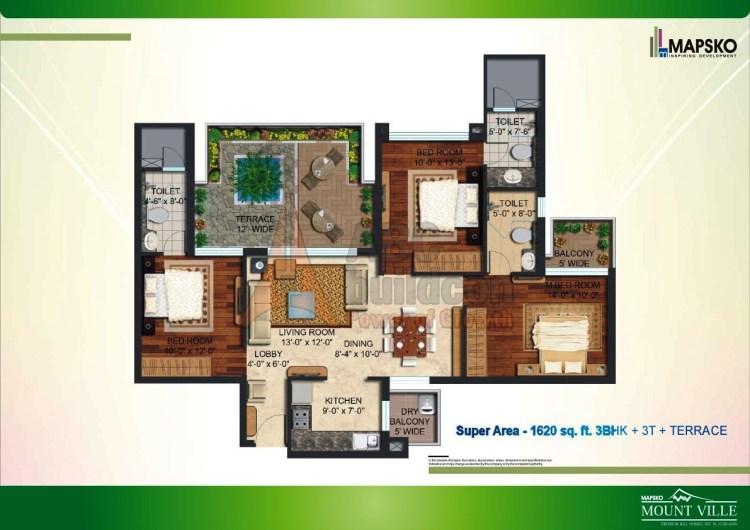 Mapsko Mount Ville Floor Plan 3 BHK + Terrace – 1620 Sq. Ft.