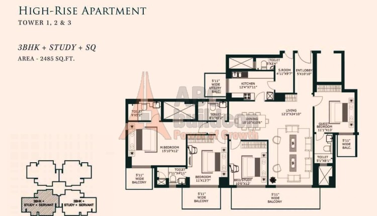 One Indiabulls Gurgaon Floor Plan 3 BHK + S.R– 2485 Sq. Ft.