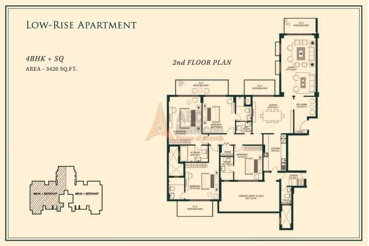 One Indiabulls Gurgaon Floor Plan 4 BHK + S.R– 3420 Sq. Ft.