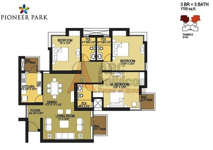 Pioneer Park Floor Plan 3 BHK – 1700 Sq. Ft.