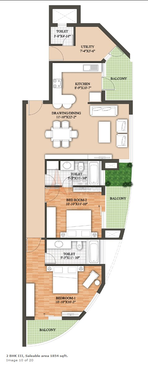 Raheja Revanta Floor Plan 2 BHK + Utility – 1854 Sq. Ft.