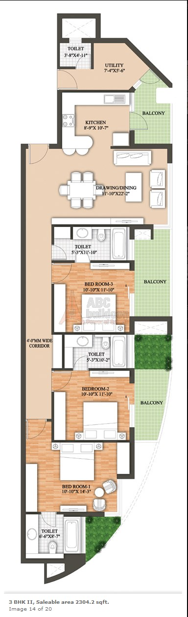 Raheja Revanta Floor Plan 3 BHK + Utility – 2304 Sq. Ft.