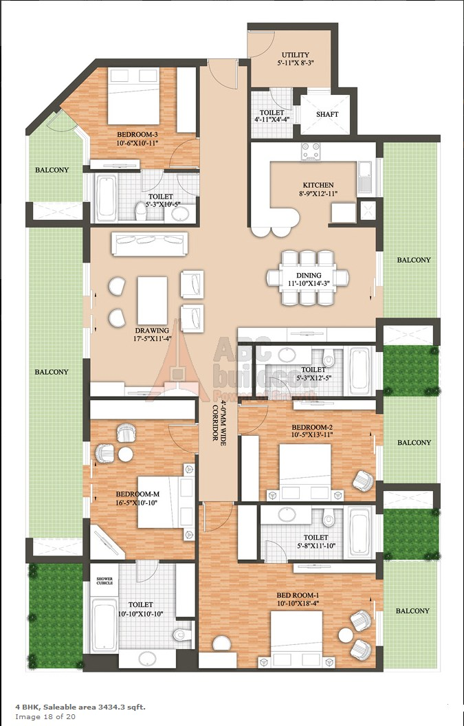Raheja Revanta Floor Plan 4 BHK + Utility – 3434 Sq. Ft.