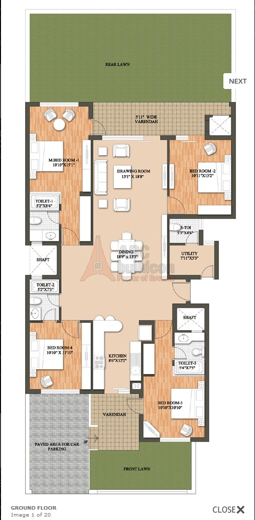 Raheja Revanta Floor Plan 4 BHK + Utility – 3532 Sq. Ft.