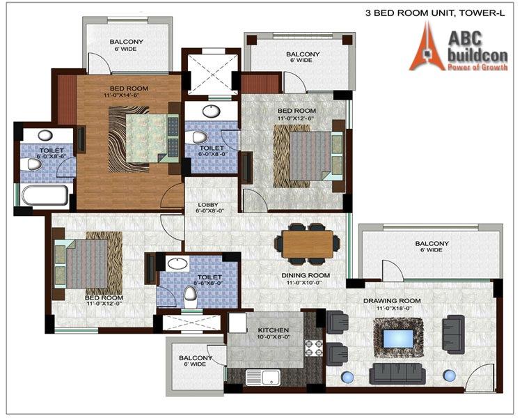 Ramprastha Edge Towers Floor Plan 3 BHK – 1675 Sq. Ft.
