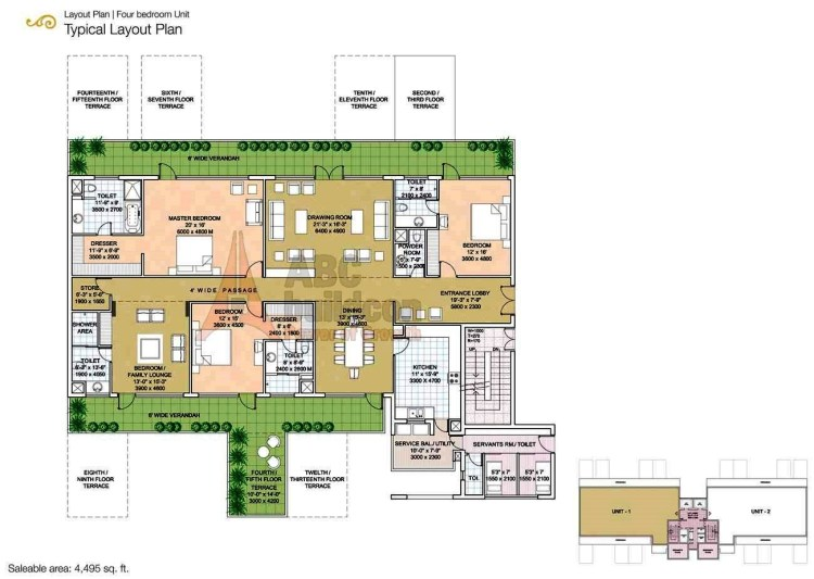 Salcon The Verandas Floor Plan 4 BHK + S.R + Store – 4495 Sq. Ft.