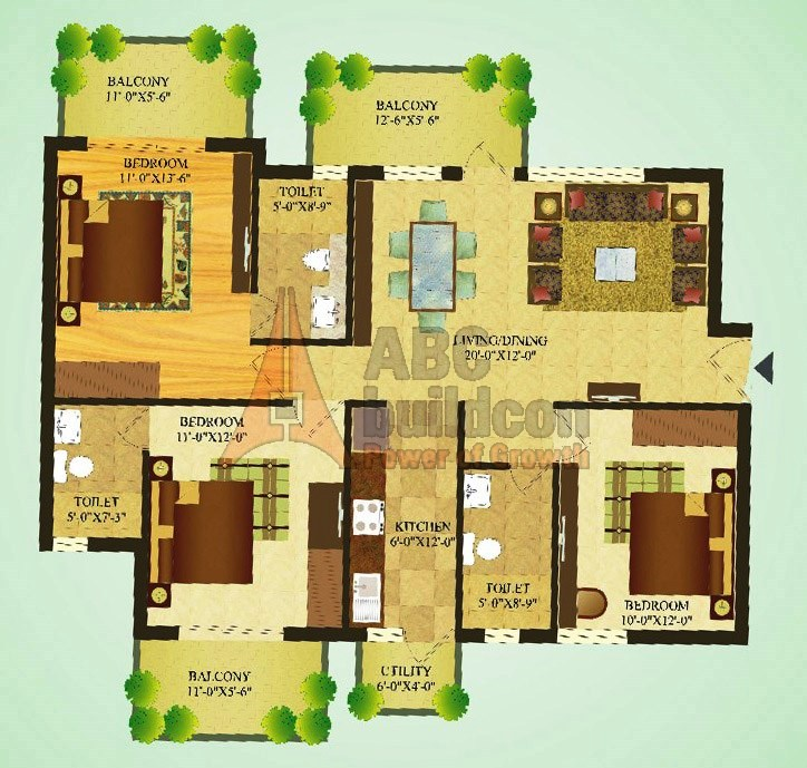 Sare Green Parc Floor Plan 3 BHK – 1417 Sq. Ft.