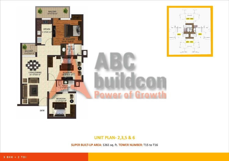 Sare Petioles Floor Plan 3 BHK – 1261 Sq. Ft.