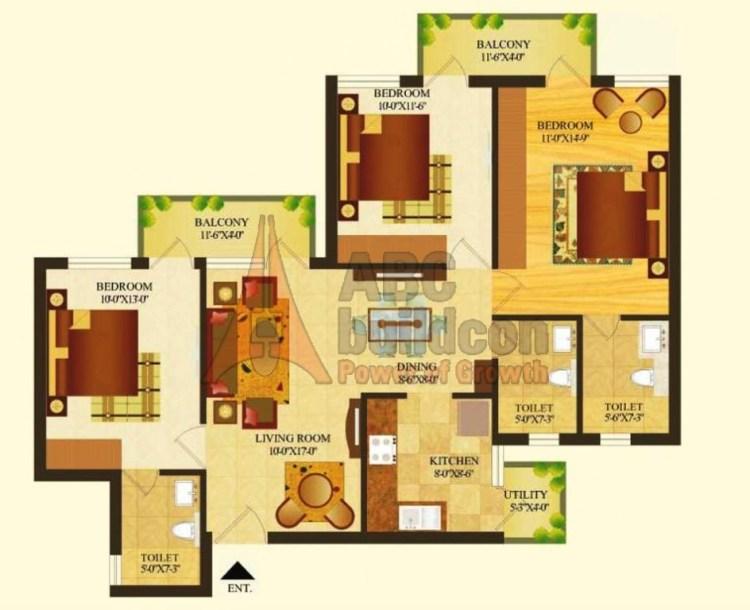 Sare Royal Greens Floor Plan 3 BHK – 1314 Sq. Ft.