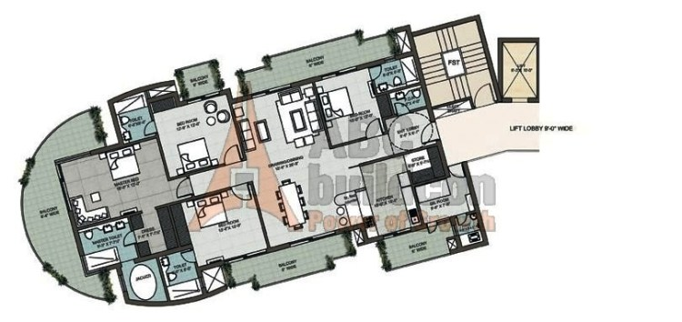 Supertech 48 Canvas Floor Plan 4 BHK + S. R + Store – 3620 Sq. Ft.