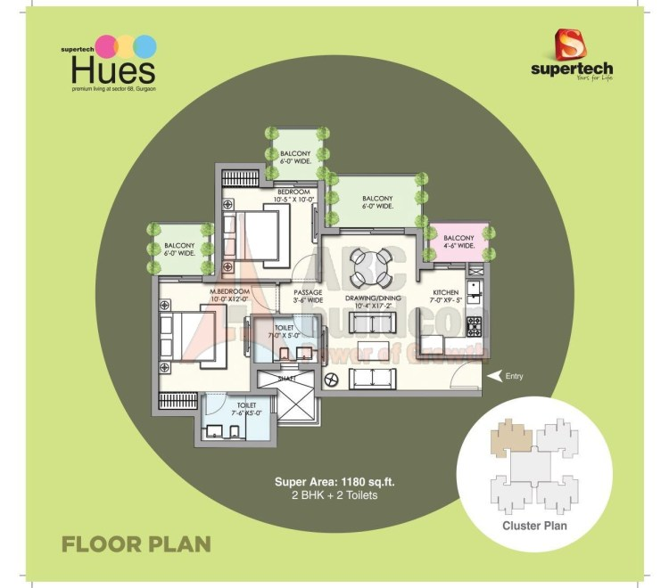 Supertech Hues Floor Plan 2 BHK – 1180 Sq. Ft.