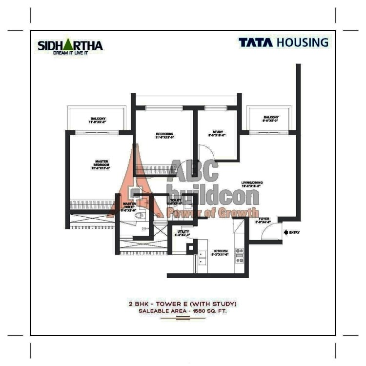 TATA Gurgaon Gateway Floor Plan 2 BHK + Study + Utility – 1580 Sq. Ft.