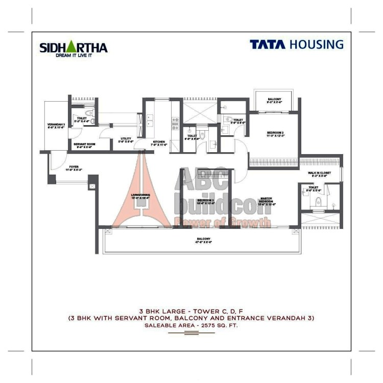 TATA Gurgaon Gateway Floor Plan 3 BHK + S.R + Utility – 2575 Sq. Ft.