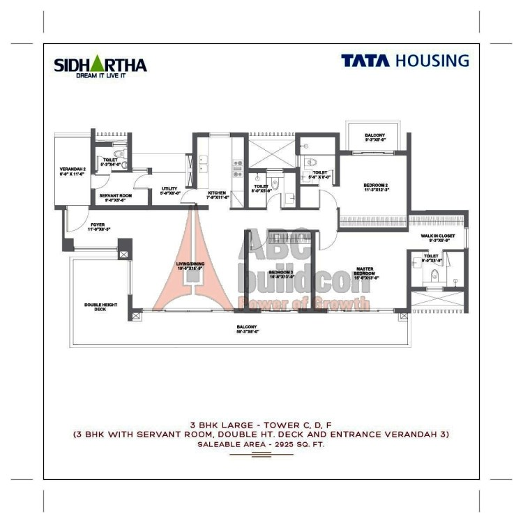 TATA Gurgaon Gateway Floor Plan 3 BHK + S.R + Utility – 2925 Sq. Ft.