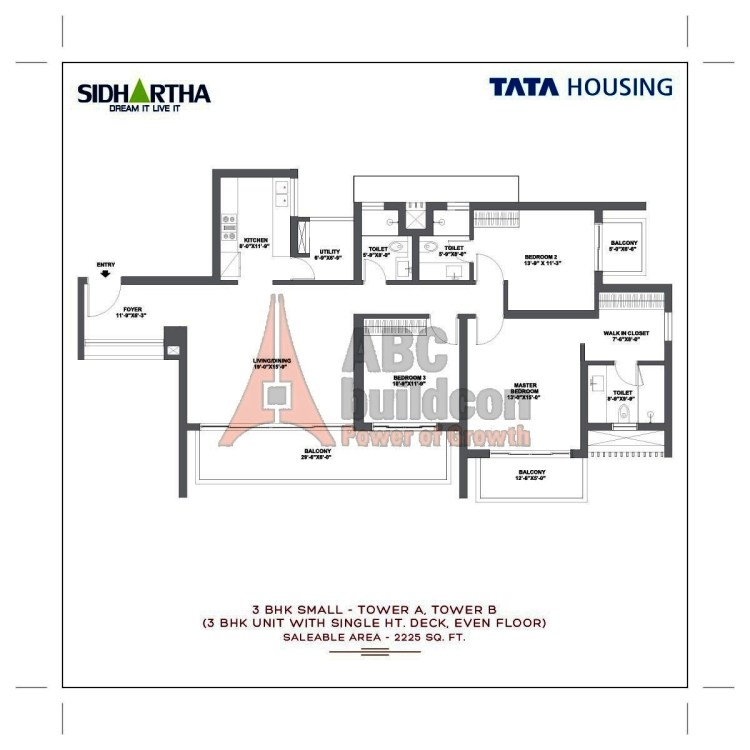 TATA Gurgaon Gateway Floor Plan 3 BHK + Utility – 2225 Sq. Ft.