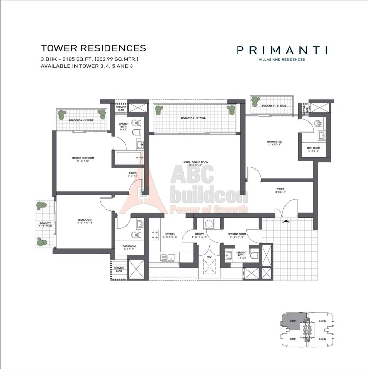 TATA Primanti Floor Plan 3 BHK + S.R + Utility – 2185 Sq. Ft.