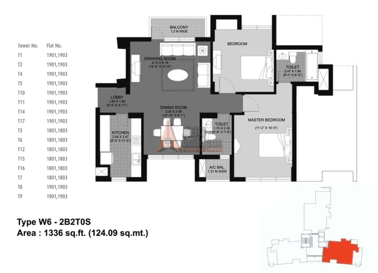Unitech Fresco Floor Plan 2 BHK – 1336 Sq. Ft.