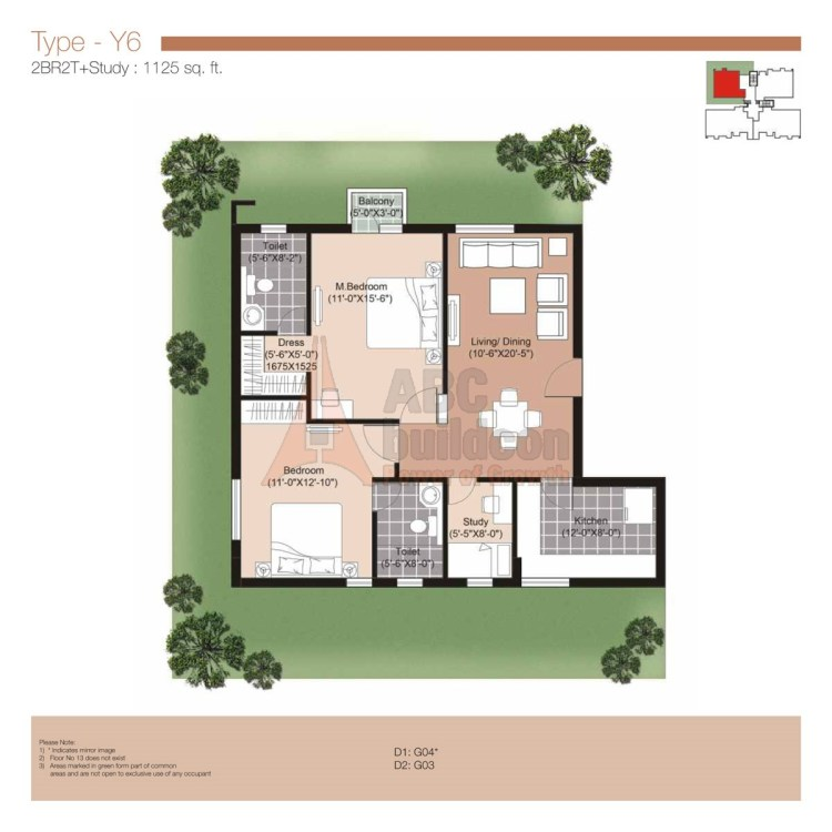 Unitech Residences Floor Plan 2 BHK + Study – 1125 Sq. Ft.