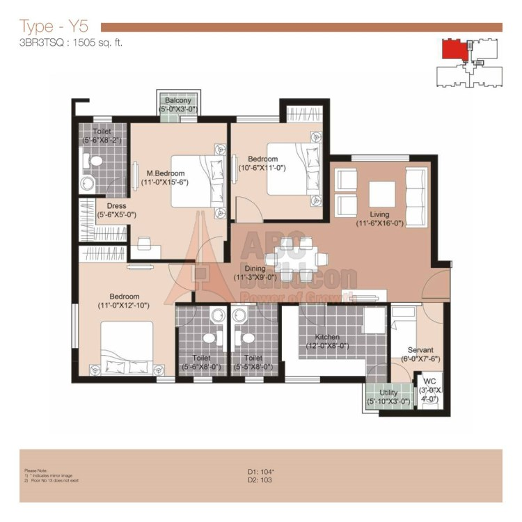 Unitech Residences Floor Plan 3 BHK + S.R – 1505 Sq. Ft.