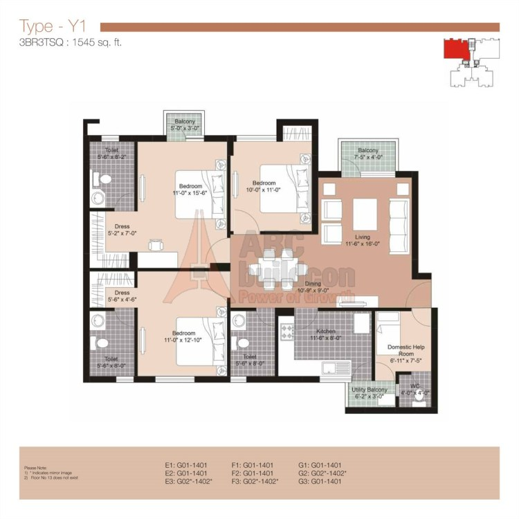 Unitech Residences Floor Plan 3 BHK + S.R – 1545 Sq. Ft.