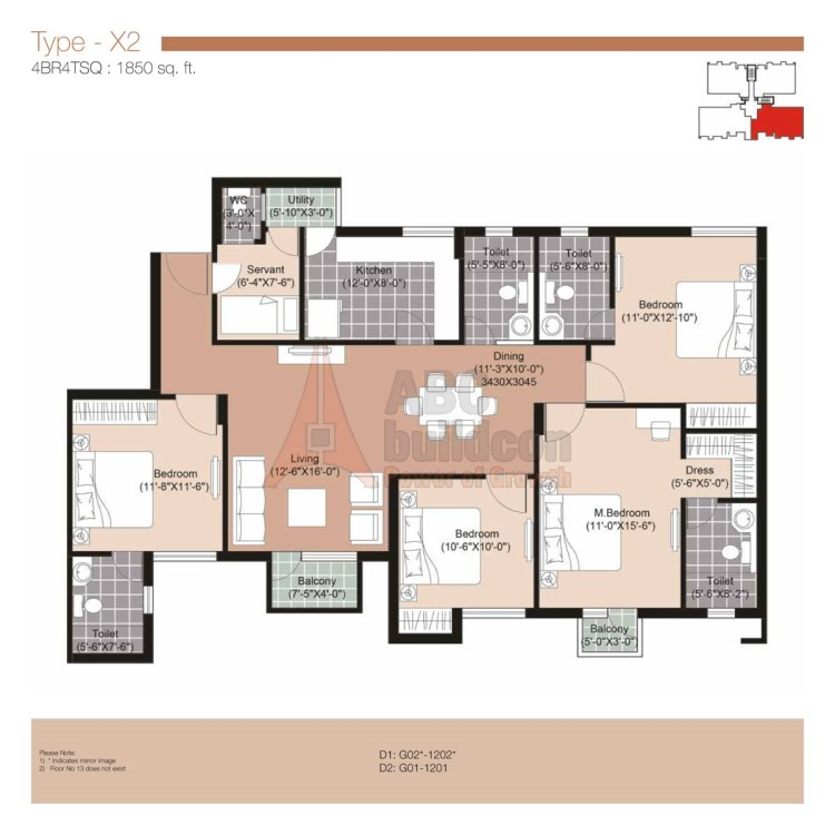 Unitech Residences Floor Plan 4 BHK + S.R – 1850 Sq. Ft.