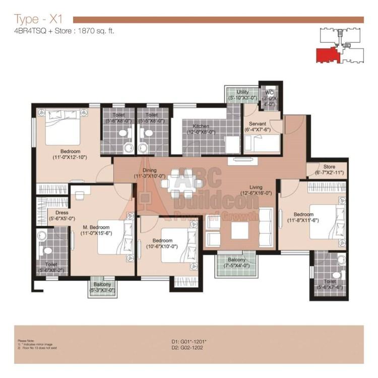 Unitech Residences Floor Plan 4 BHK + S.R + Store – 1870 Sq. Ft.